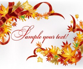 Autumn leaves Gift Card vector 02