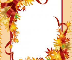 Autumn leaves Gift Card vector 03