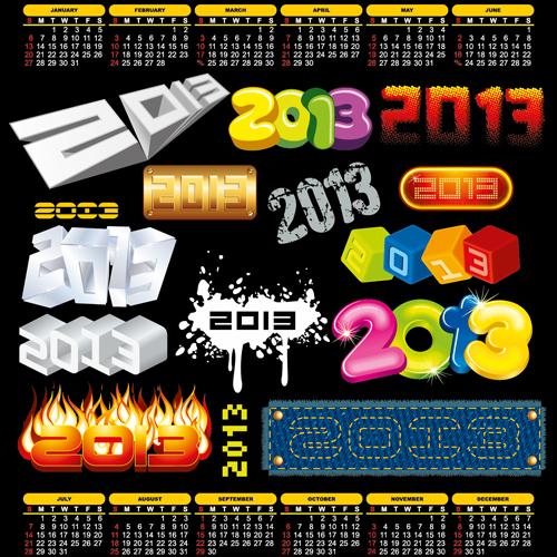 2013 design elements and 2013 Calendar vector 02