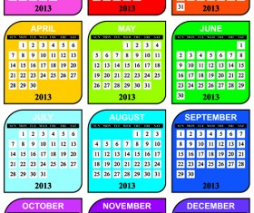 Elements of 2013 Year Planner Calendars design Vector 01