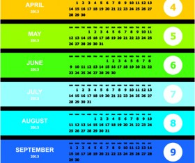 Elements of 2013 Year Planner Calendars design Vector 02