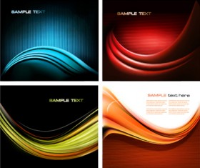 Ornate Silk wave vector backgrounds set 03