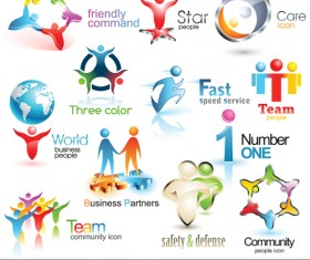 Shiny 3D logos and icons design vector 01