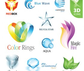 Shiny 3D logos and icons design vector 03