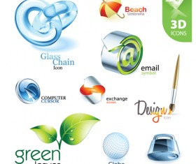 Shiny 3D logos and icons design vector 04