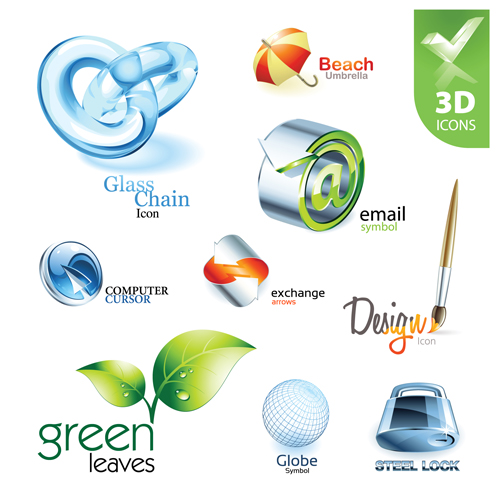 Shiny 3d Logos And Icons Design Vector 04 Other Icons