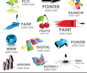 Shiny 3D logos and icons design vector 05