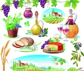 Various Food with Grapes vector set 04