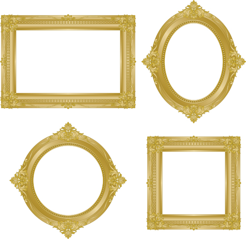 Set of Antique Gold Photo Frame elements vector 02Antique Picture Frames Vector