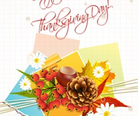 Autumn elements Greeting Cards design vector 04