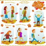 Link toAutumn leaves and people design elements vector