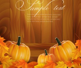 Autumn pumpkin with Wood Board background vector 01