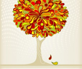 Autumn tree style cover design vector