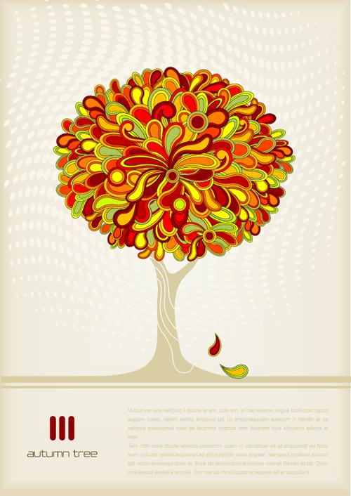 Autumn tree style cover design vector