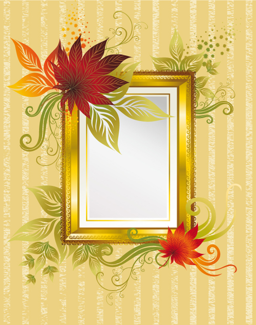 Autumn elements of Frames vector 02 free download