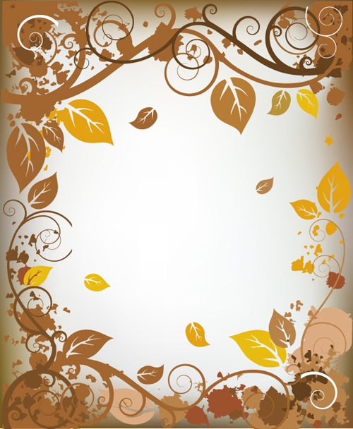Autumn elements of Frames vector 05 free download