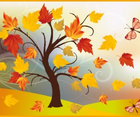 Autumn of Tree design vector ser 02