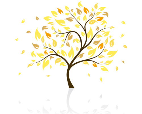 autumn of tree design vector ser 03