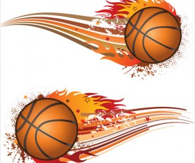 Set of Basketball design elements vector material 01