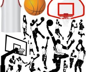 Set of Basketball design elements vector material 03