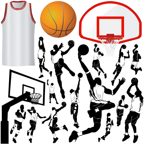 Set of Basketball design elements vector material 03 free download