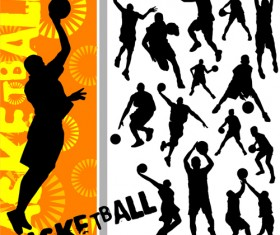 Set of Basketball design elements vector material 04