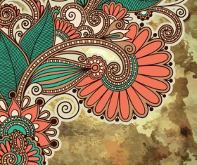 Floral patterns with grunge backgrounds vector 01