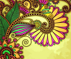 Floral patterns with grunge backgrounds vector 05