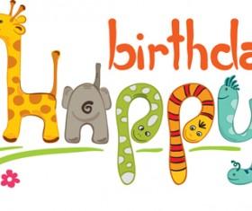 Creative Happy Birthday design elements vector art 01