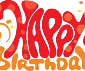 Creative Happy Birthday design elements vector art 02