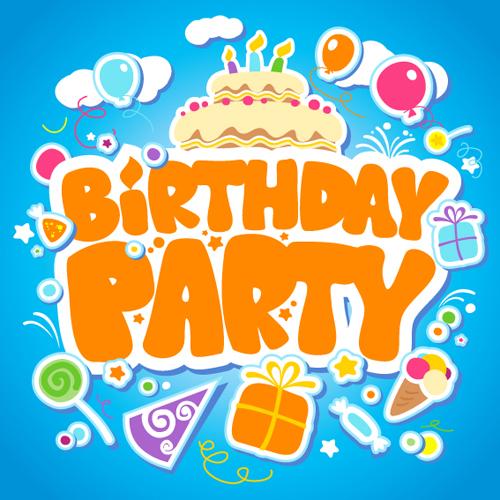 Creative Happy Birthday design elements vector art 03