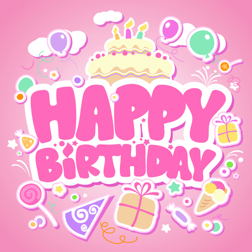 Creative Happy Birthday design elements vector art 04