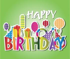 Creative Happy Birthday design elements vector art 05