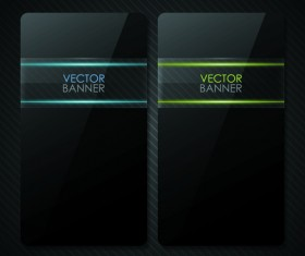 Set of Shiny Black Banners vector 01