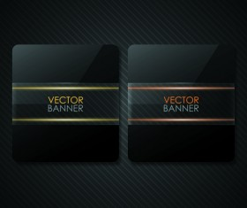 Set of Shiny Black Banners vector 02