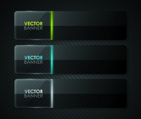Set of Shiny Black Banners vector 03