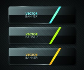 Set of Shiny Black Banners vector 04