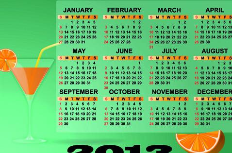Set of Calendar 2013 design elements vector 01