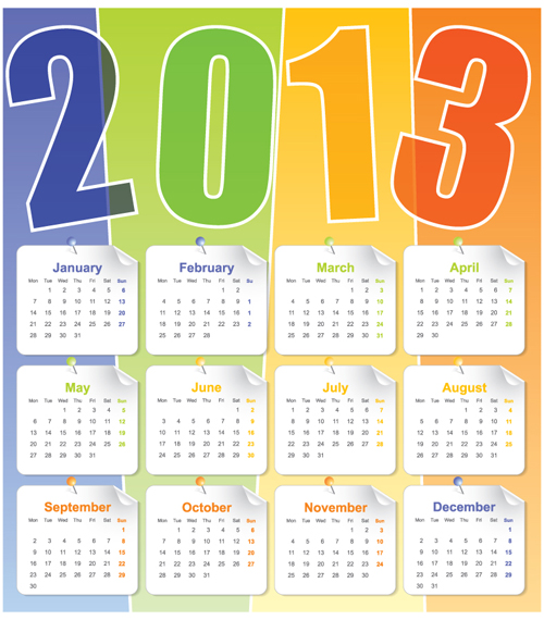 Free EPS file Set of Calendar 2013 design elements vector 06 download