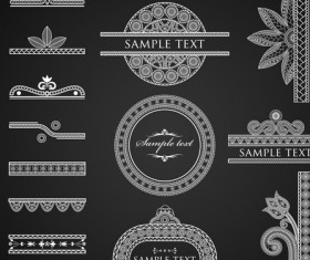 Set of ornate Calligraphy border pattern vector 01