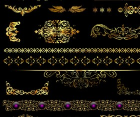 Set of ornate Calligraphy border pattern vector 03