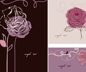 Hand drawn flower of Stylish card vector 03