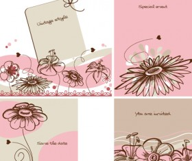 Hand drawn flower of Stylish card vector 04