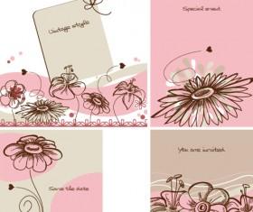 Hand drawn flower of Stylish card vector 04