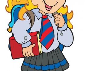 Different Cartoon school child image vector 03