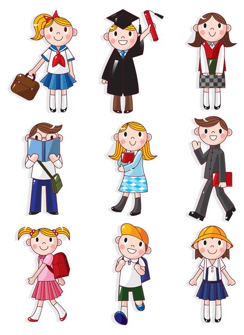 Different Cartoon school child image vector 04