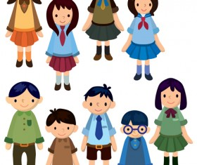 Different Cartoon school child image vector 05