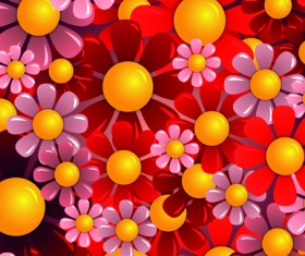Bright Colorful flowers vector background set 01