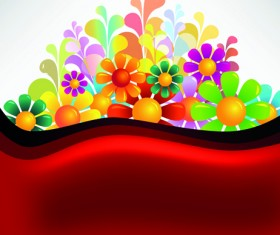 Bright Colorful flowers vector background set 04