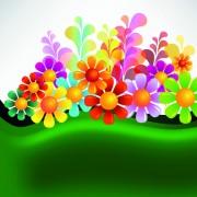 Link toBright colorful flowers vector background set 05